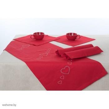Комплект столовый Вышивка Сердечки 90*40