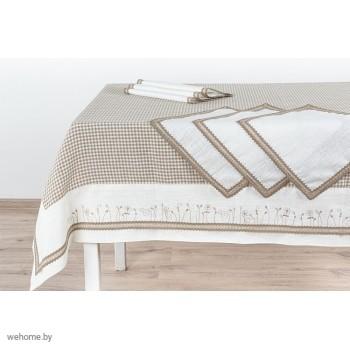 Столовый комплект с вышивкой и кружевом 180*180